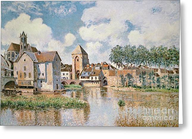 Gate Landscape Greeting Cards - Moret sur Loing the Porte de Bourgogne Greeting Card by Alfred Sisley