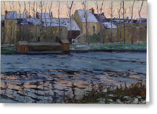 Moret Greeting Cards - Moret. Winter Greeting Card by Maurice Cullen
