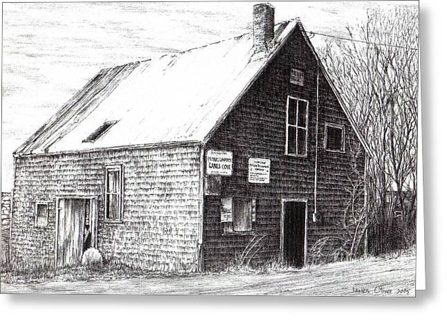 Shack Drawings Greeting Cards - Moreys Shack Lanes Cove Greeting Card by James Oliver