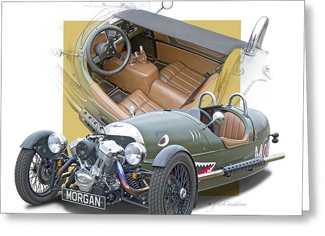 Three Speed Greeting Cards - Morgan 3-wheeler Greeting Card by Roger Beltz