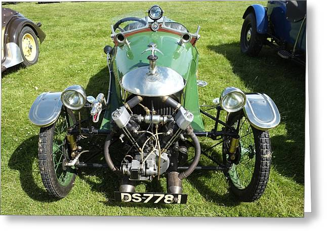 Mog Greeting Cards - Morgan 3 Wheeler V twin Greeting Card by Adrian Beese