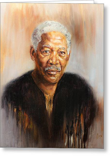 Portraitist Greeting Cards - Morgan Greeting Card by Anthony  Baxton