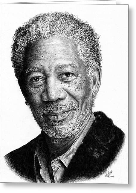 Award Drawings Greeting Cards - Morgan Freeman Greeting Card by Andrew Read
