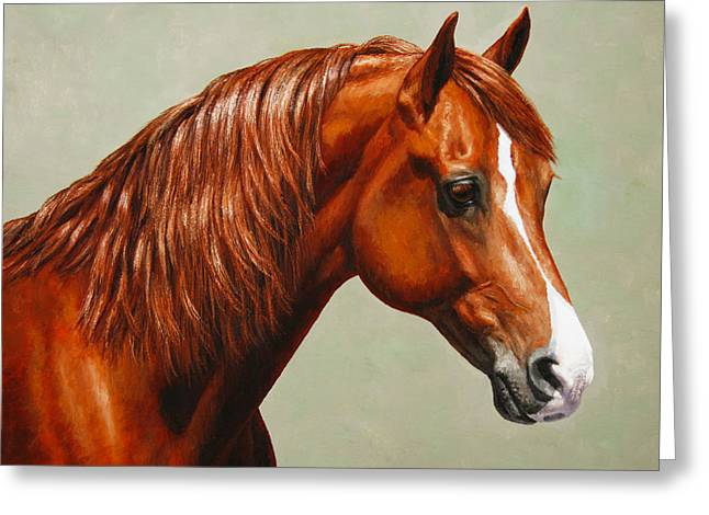Chestnut Horse Greeting Cards - Morgan Horse - Flame Greeting Card by Crista Forest