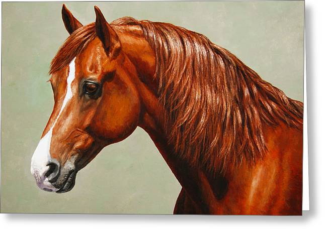 Chestnut Horse Greeting Cards - Morgan Horse - Flame - Mirrored Greeting Card by Crista Forest