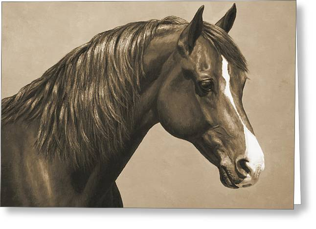 Horse Artist Greeting Cards - Morgan Horse Painting in Sepia Greeting Card by Crista Forest