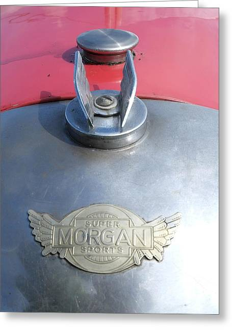 Mog Greeting Cards - Morgan Super Sport badge Greeting Card by Adrian Beese