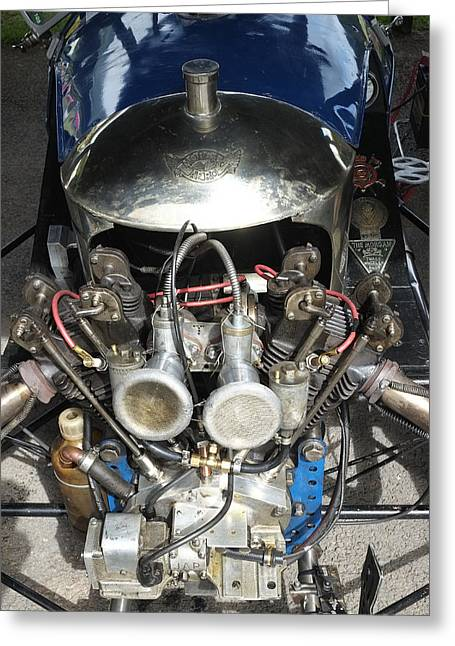 Mog Greeting Cards - Morgan V twin engine detail Greeting Card by Adrian Beese