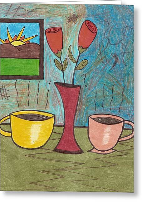 Two Coffee Cups Greeting Cards - Moring Joe Greeting Card by Ray Ratzlaff