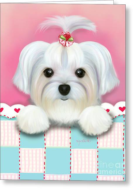Puppies Mixed Media Greeting Cards - Morkie Shelly Greeting Card by Catia Cho