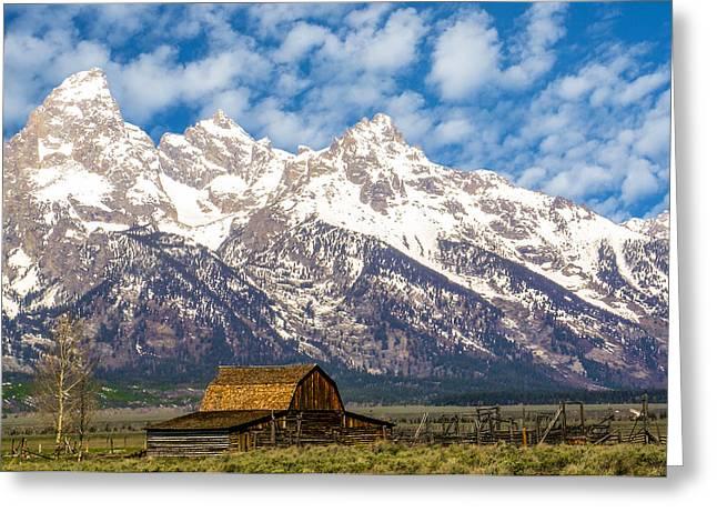 Most Photographs Greeting Cards - Mormon Barn and Sage Brush Greeting Card by Douglas Barnett