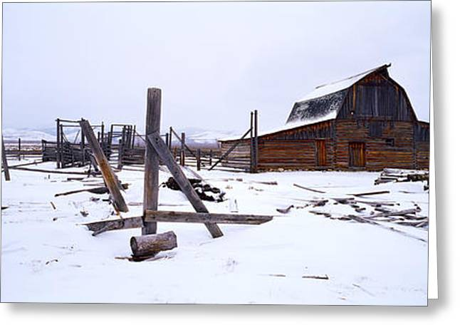 Mormon Barn In Winter, Wyoming, Usa Greeting Card by Panoramic Images