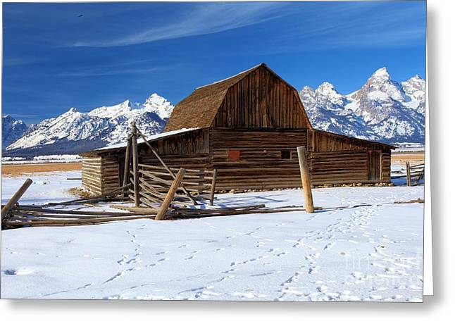 Most Photographs Greeting Cards - Mormon Row Barn Greeting Card by Adam Jewell