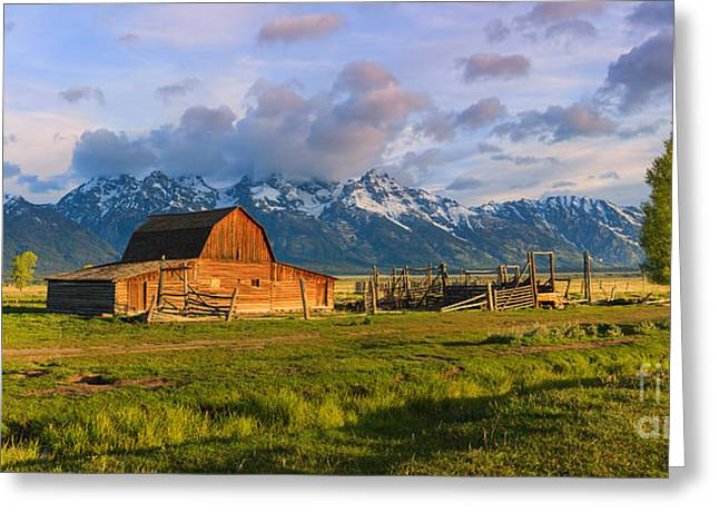 Acryl Greeting Cards - Mormon Row Barn Grand Teton N.P Greeting Card by Henk Meijer Photography