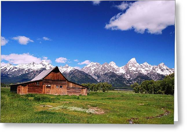 Snow Capped Greeting Cards - Mormon Row Barn -  Grand Tetons National Park Greeting Card by Allen Beatty