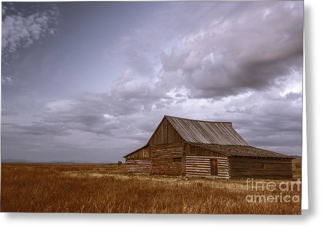 After Sunset Greeting Cards - Mormon Row Barn Greeting Card by Vishwanath Bhat