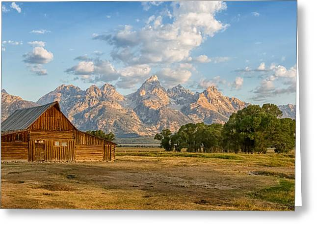 Morning Greeting Cards - Mormon Row Farm Greeting Card by Andres Leon