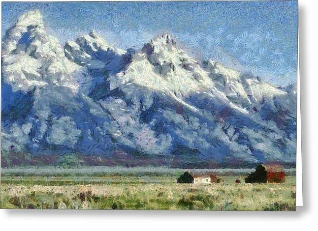 National Park Mixed Media Greeting Cards - Mormon Row Historic District Grand Tetons Greeting Card by Dan Sproul
