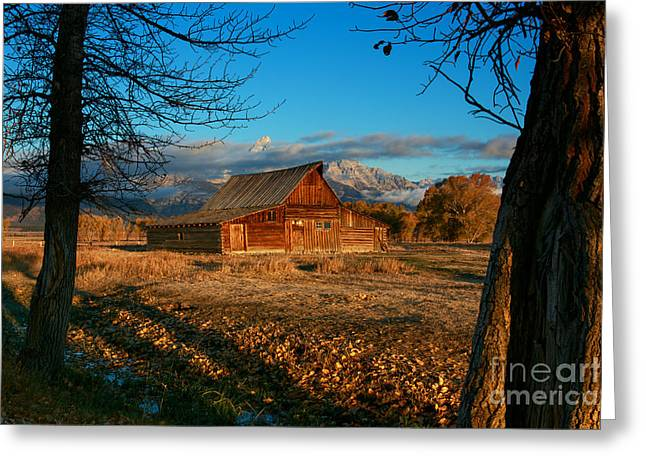 Old Barns Greeting Cards - Mormon Row Morning Greeting Card by Reflective Moment Photography And Digital Art Images