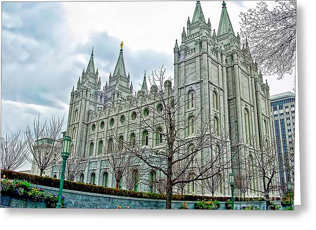 Recently Sold -  - Square Format Greeting Cards - Mormon Temple in Early Spring Greeting Card by Gary Holmes