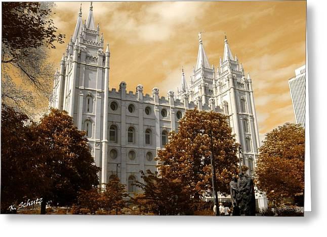 Salt Lake City Temple Digital Art Greeting Cards - Mormon Temple Greeting Card by Kelly Schutz