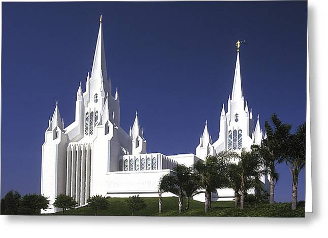 White Marble Greeting Cards - Mormon Temple Greeting Card by Paul W Faust -  Impressions of Light