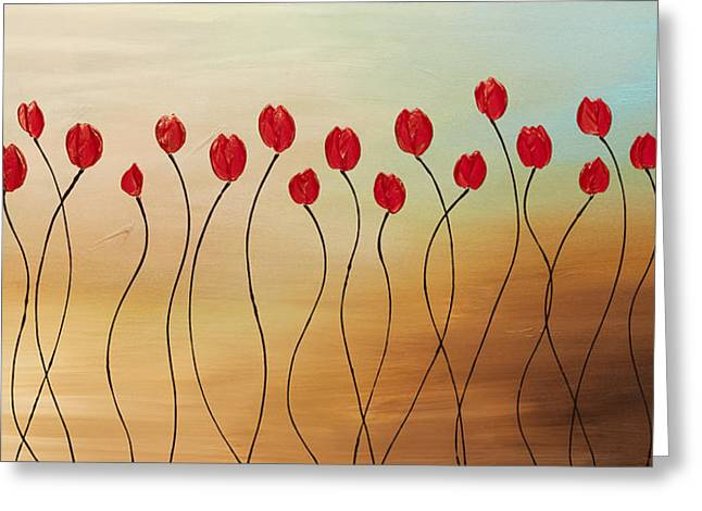 Red Flowers Greeting Cards - Morning Shimmers Greeting Card by Carmen Guedez