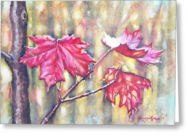 Dewdrops Paintings Greeting Cards - Morning After Autumn Rain Greeting Card by Shana Rowe