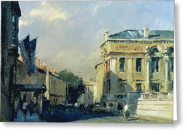 City Art Greeting Cards - Morning, Ashmolean Museum, 1984 Oil On Canvas Greeting Card by Trevor Chamberlain