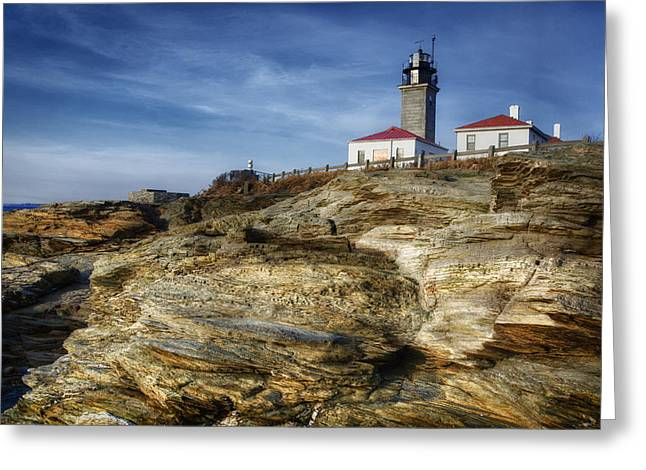 Recently Sold -  - New England Ocean Greeting Cards - Morning at Beavertail Lighthouse Greeting Card by Joan Carroll