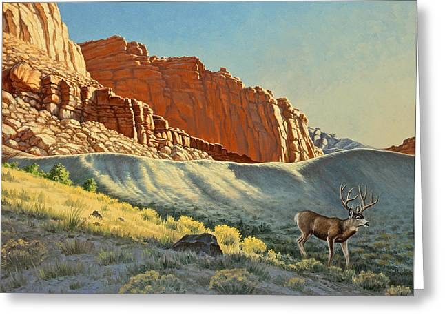 Mules Greeting Cards - Morning at Capitol Reef Greeting Card by Paul Krapf