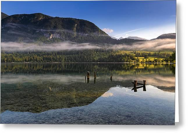 Bohinj Lake Greeting Cards - Morning at lake Bohinj Greeting Card by Robert Krajnc