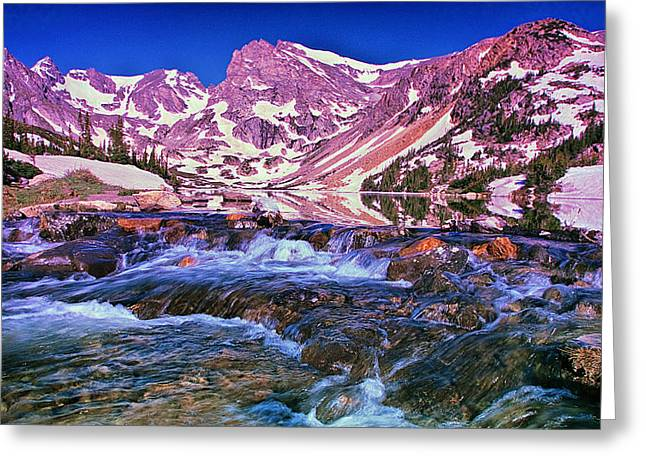 Mountain Reflection Lake Summit Mirror Greeting Cards - Morning at Lake Isabelle Greeting Card by Brian Kerls