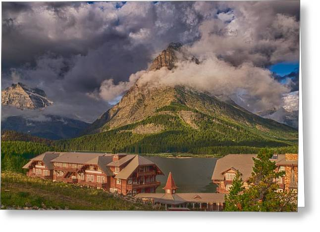 Many Glacier Greeting Cards - Morning at Many Glacier Hotel Greeting Card by Rob Wilson