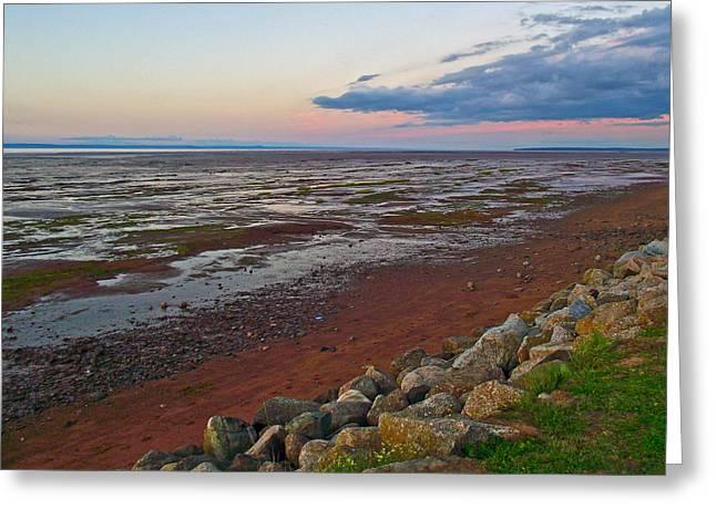 Minas Basin Greeting Cards - Morning at Minas Basin in Fundy Bay near Grand Pre-NS Greeting Card by Ruth Hager