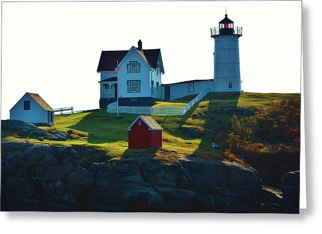 Cape Neddick Lighthouse Greeting Cards - Morning At Nubble Lighthouse Greeting Card by Joy Bradley