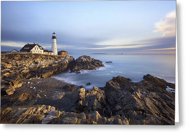 Portland Head Light Greeting Cards - Morning at Portland Head Greeting Card by Eric Gendron