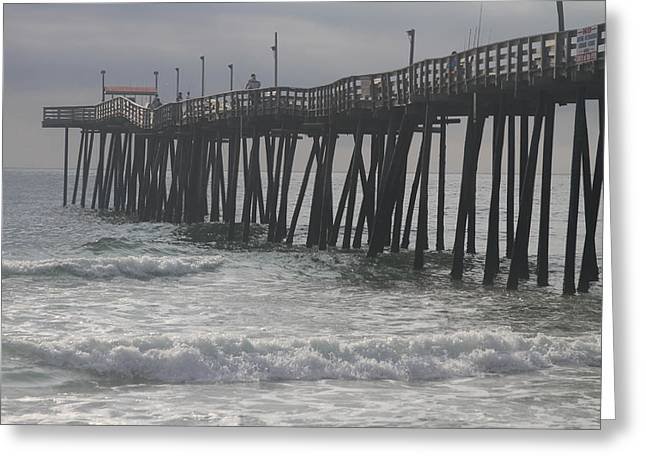 Rodanthe Greeting Cards - Morning at Rodanthe Pier 12 Greeting Card by Cathy Lindsey