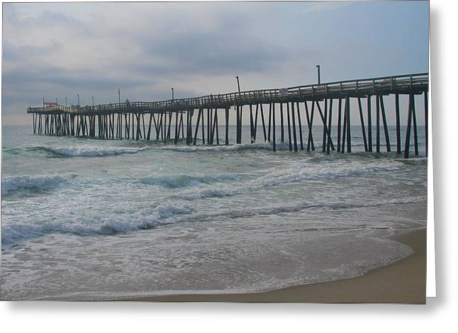 Rodanthe Greeting Cards - Morning at Rodanthe Pier 14 Greeting Card by Cathy Lindsey