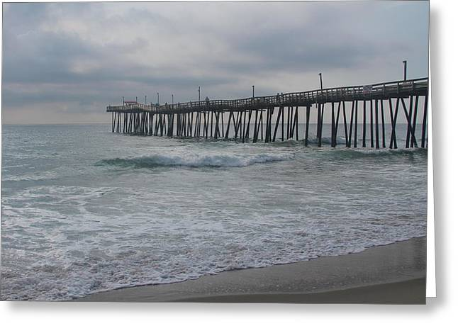Sand Greeting Cards - Morning at Rodanthe Pier 15 Greeting Card by Cathy Lindsey