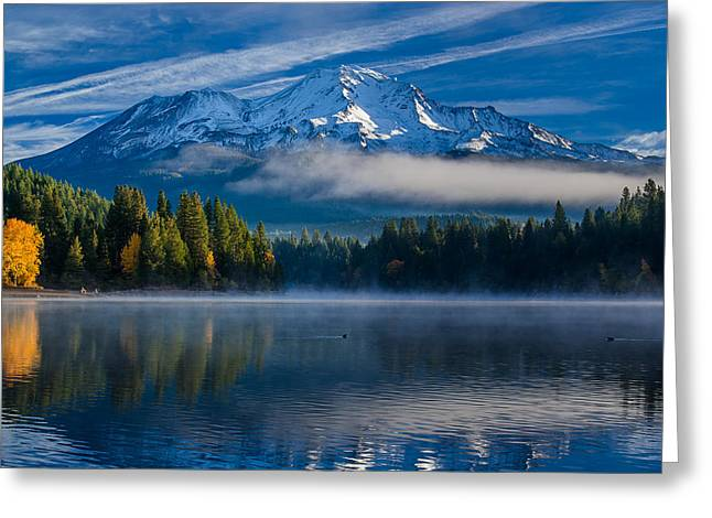 Reflection On Water Greeting Cards - Morning at Siskiyou Lake Greeting Card by Greg Nyquist