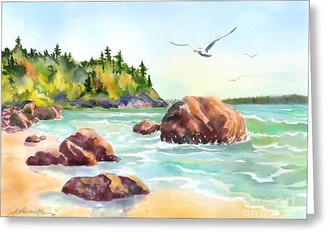 Joan A Hamilton Greeting Cards - Morning at the Beach Greeting Card by Joan A Hamilton