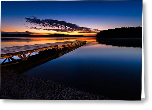 Wooden Platform Greeting Cards - Morning at the Lake Greeting Card by Tommy Brison