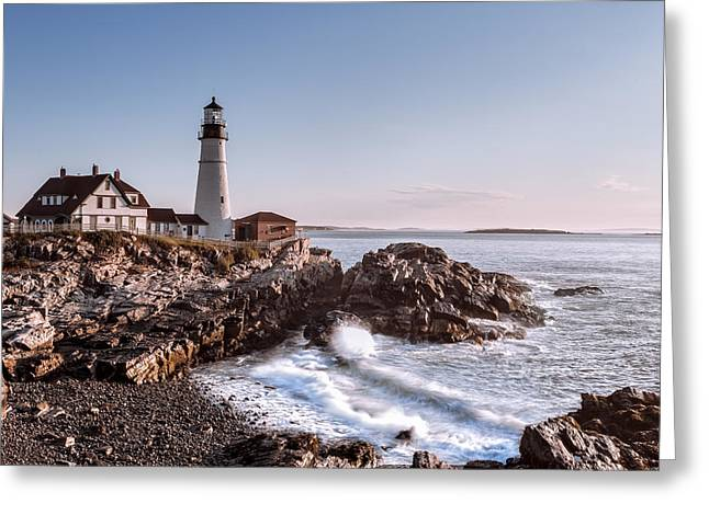 New England Lighthouse Greeting Cards - Morning at the lighthouse Greeting Card by Eduard Moldoveanu