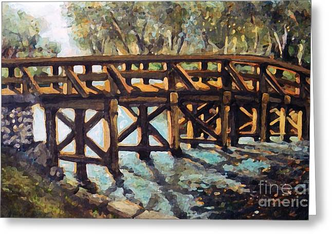 Best Sellers -  - Concord Greeting Cards - Morning at the Old North Bridge Greeting Card by Rita Brown