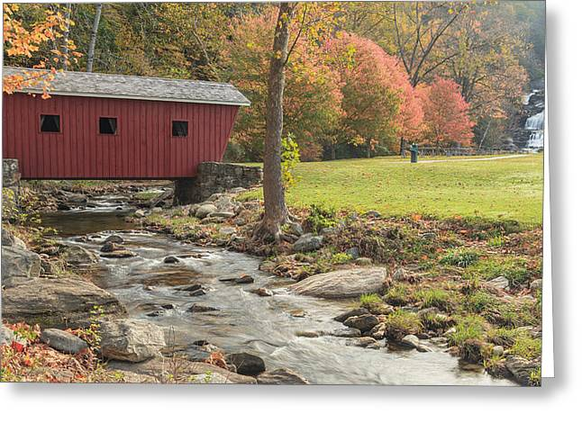 Connecticut Covered Bridge Greeting Cards - Morning at the park Greeting Card by Bill  Wakeley
