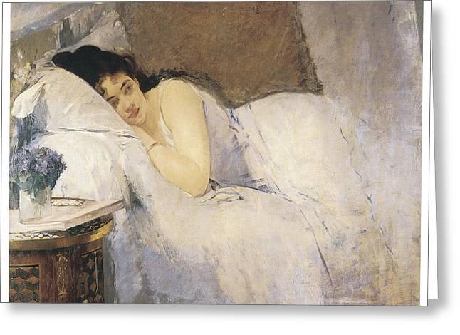 Victorian Era Woman Greeting Cards - Morning Awakening Greeting Card by Eva Gonzales