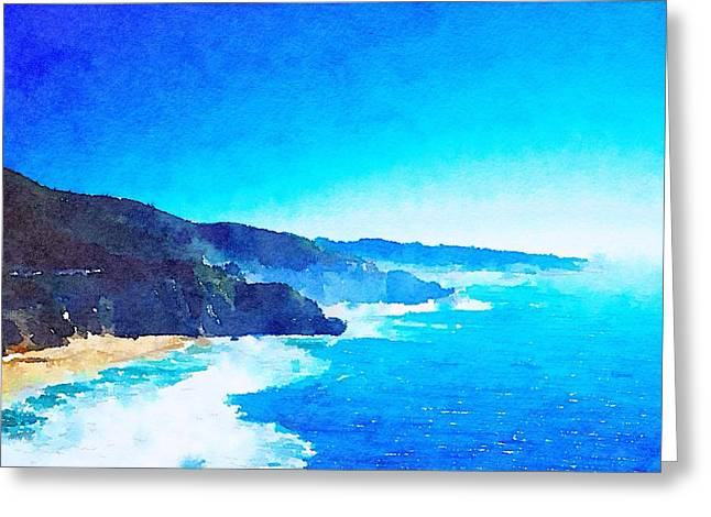Ocean Shore Mixed Media Greeting Cards - Morning Bay Greeting Card by Mark Taylor