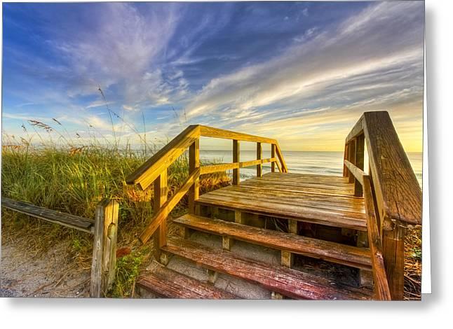 Morning Beach Walk Greeting Card by Debra and Dave Vanderlaan