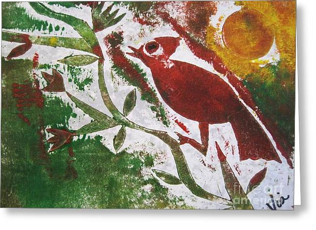 Printmaking Greeting Cards - Morning Birdsong Greeting Card by Judy Via-Wolff